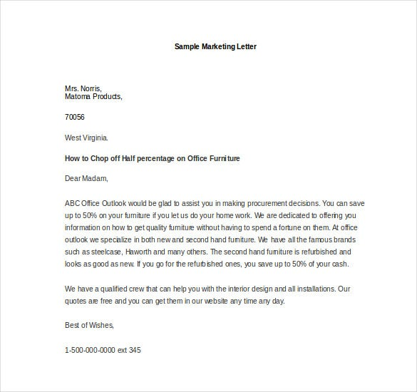 sample marketing letter