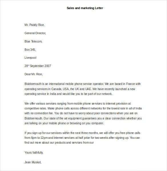sample sales and marketing letter