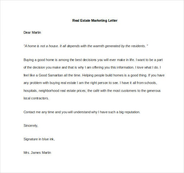 sample real estate marketing letter