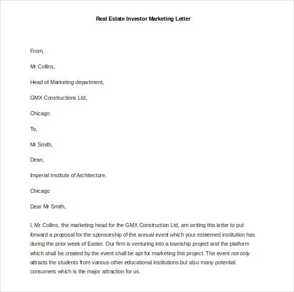 Real Estate Marketing Letter Templates Geccetackletartsco - Yellow letter template