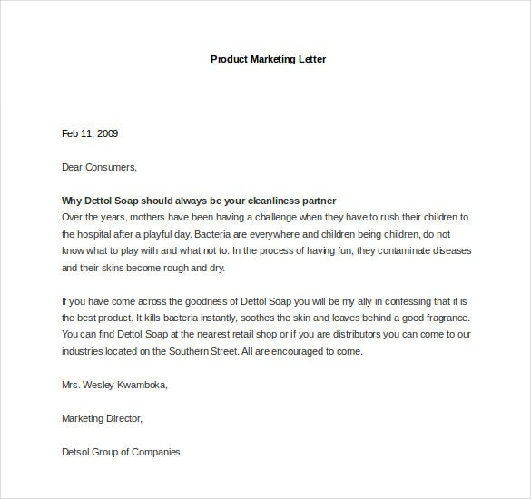 sample product marketing letter