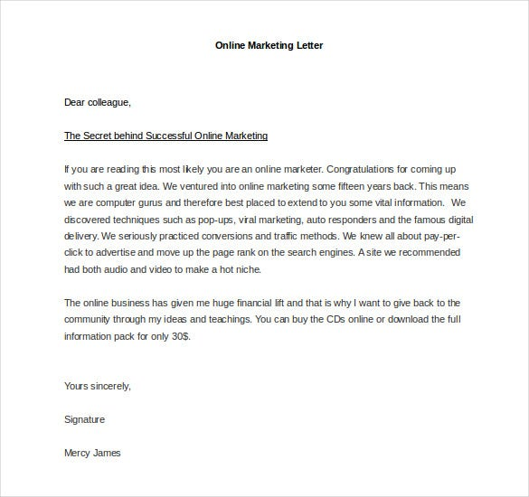sample online marketing letter