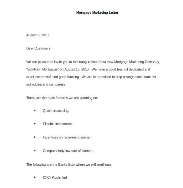 sample mortgage marketing letter
