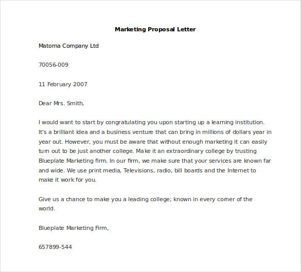 Superior Sample Marketing Proposal Letter To Marketing Proposal Letter