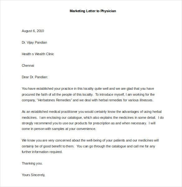 sample marketing letter to physician