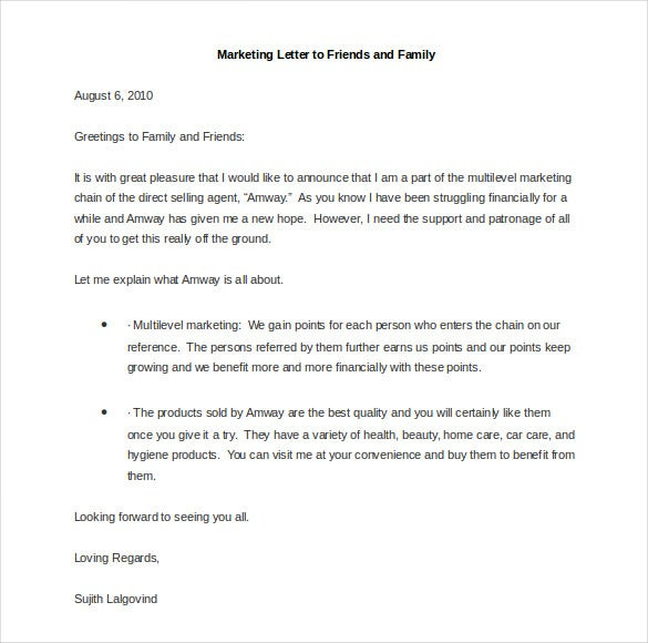 sample marketing letter to friends and family