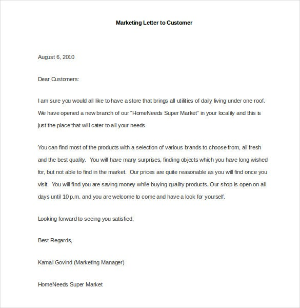 sample marketing letter to customer