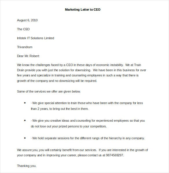 sample marketing letter to ceo