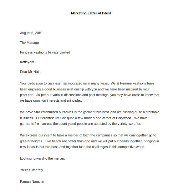 Sample Marketing Letter Of Intent  Marketing Proposal Letter