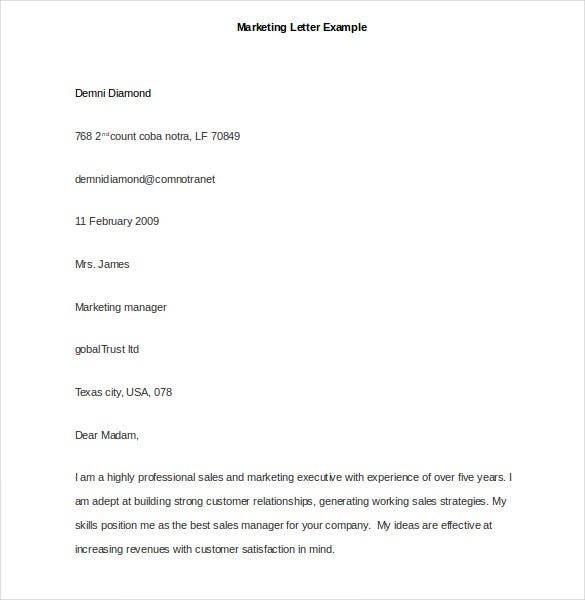 marketing letter example