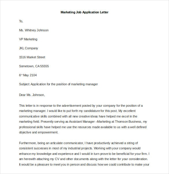 sample marketing job application letter