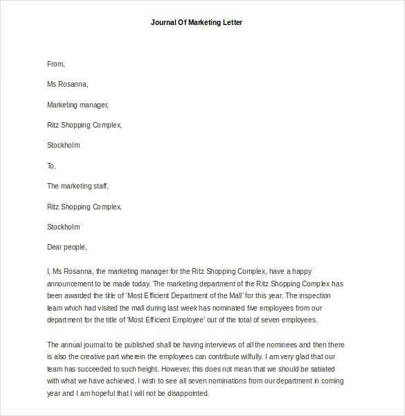 sample journal of marketing letter