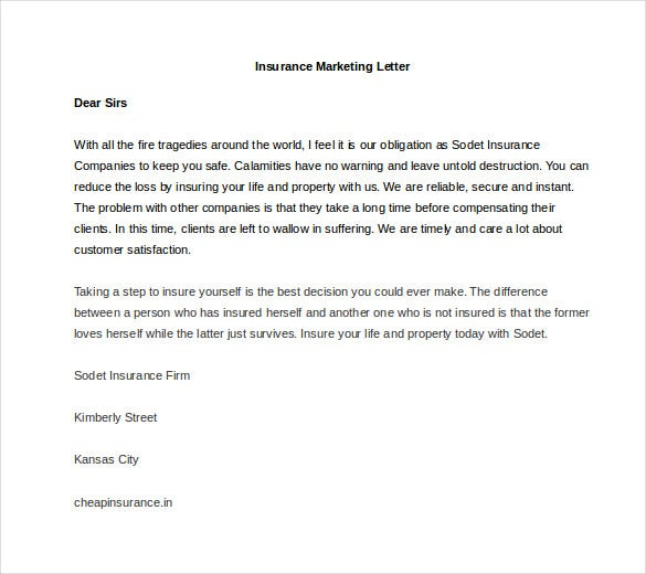 sample insurance marketing letter