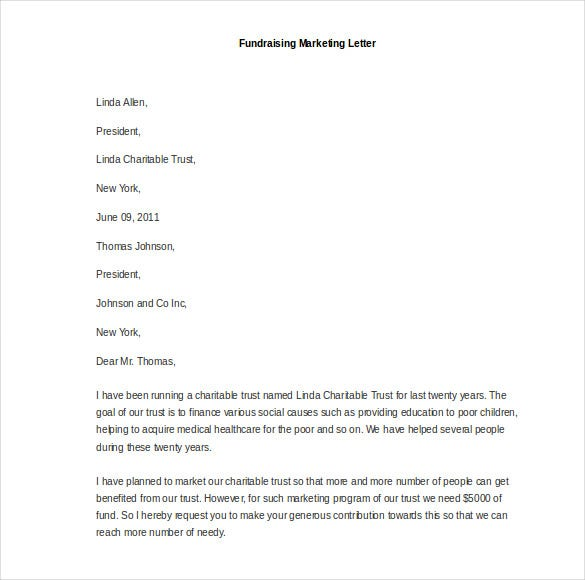 sample fundraising marketing letter