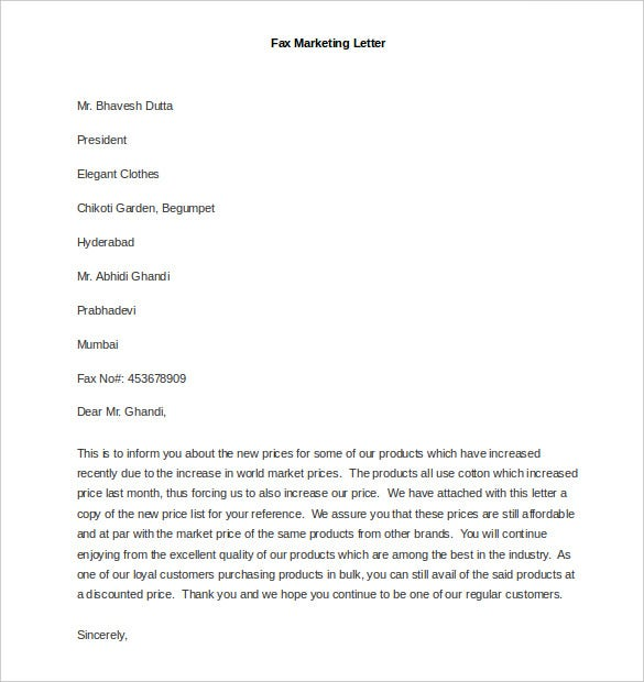 sample fax marketing letter