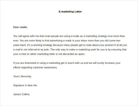 sample e marketing letter