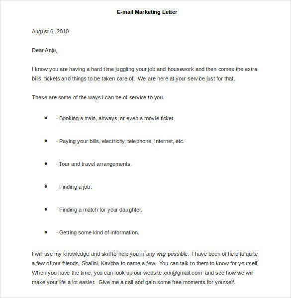 sample e mail marketing letter
