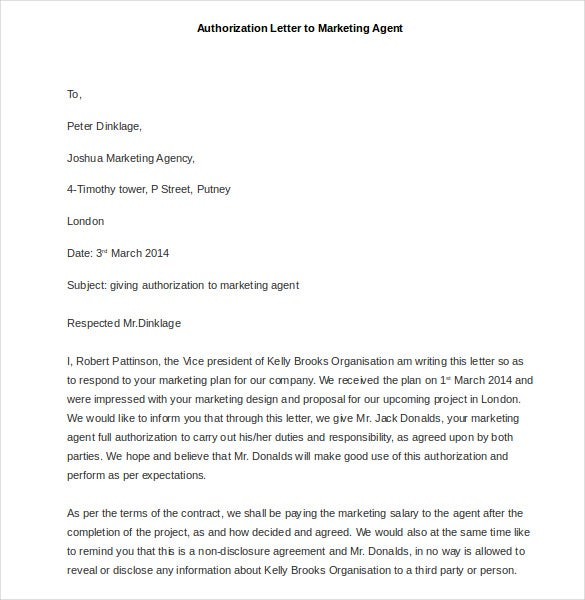 sample authorization letter to marketing agent