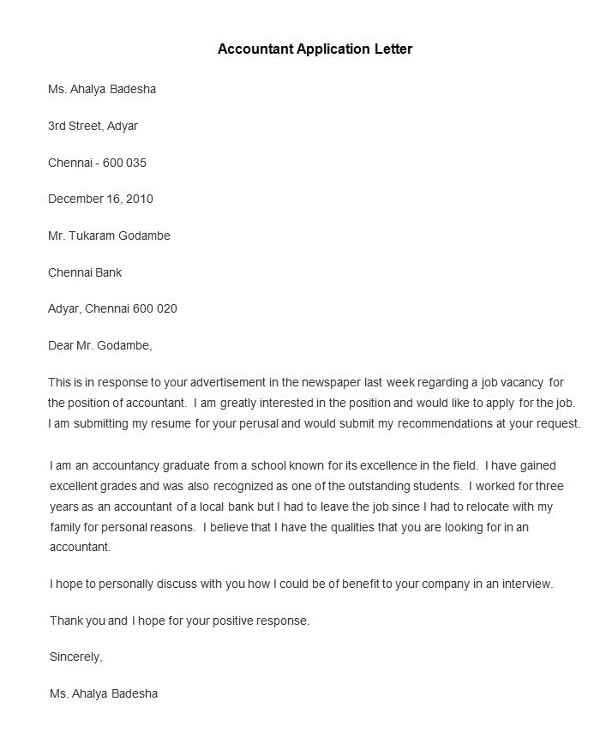 Sample Accountant Application Letter