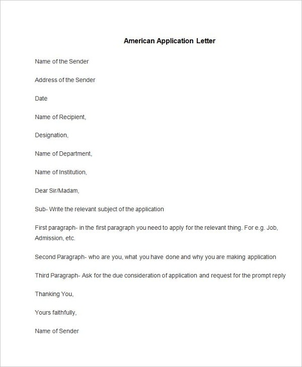 90 free application letter templates free premium templates sample american application letter altavistaventures Images