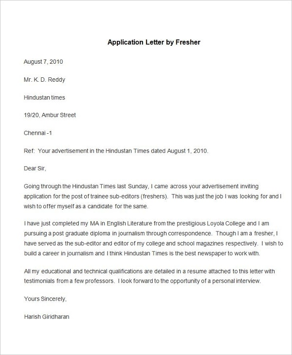sample application letter by fresher