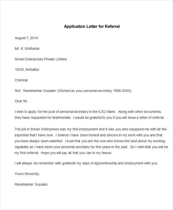 95 best free application letter templates samples pdf doc sample application letter for referral altavistaventures Images