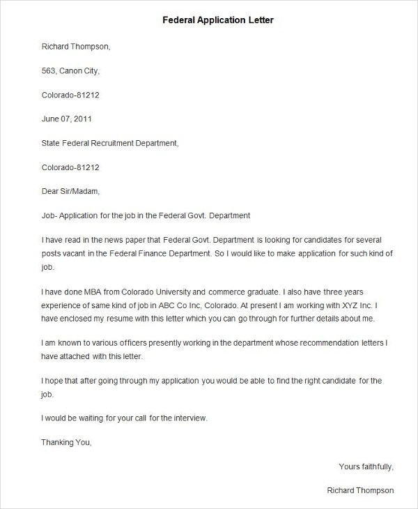 94 best free application letter templates samples pdf for What to write on a covering letter for a job