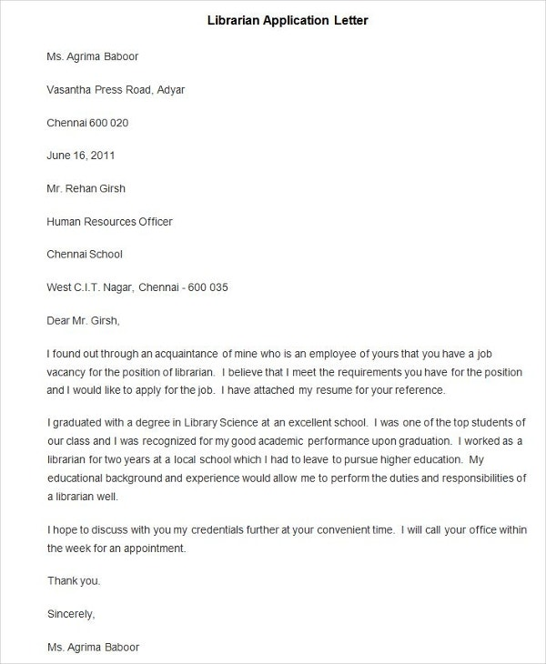 Job Application Letter Librarian