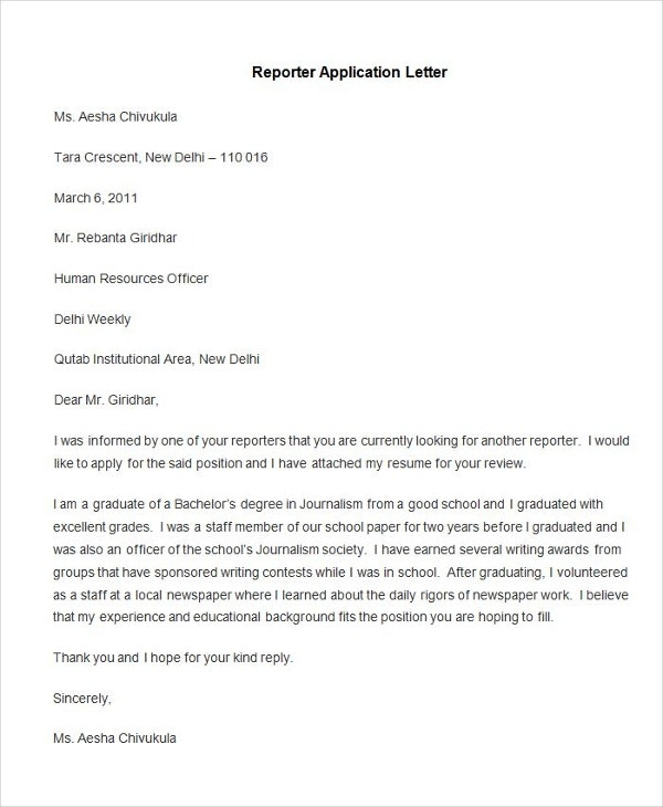 sample reporter application letter
