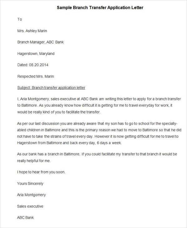 Job Application Letter Sample For Bank