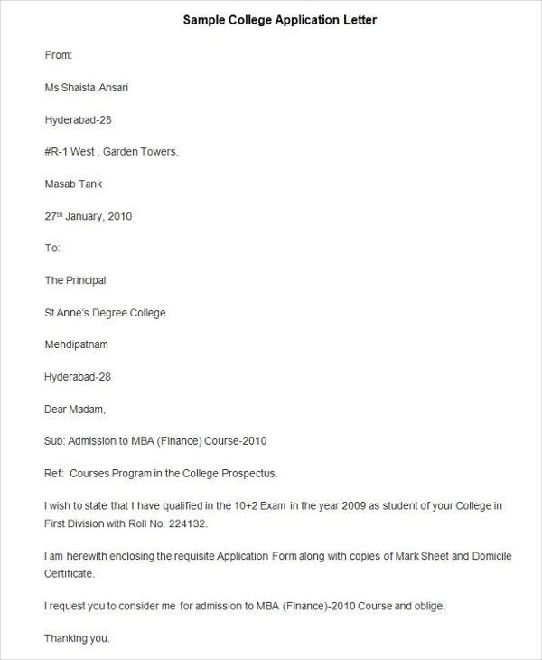 61 Free Application Letter Templates – College Application Letter