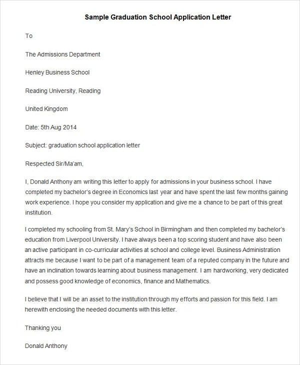 How to write an application letter for university