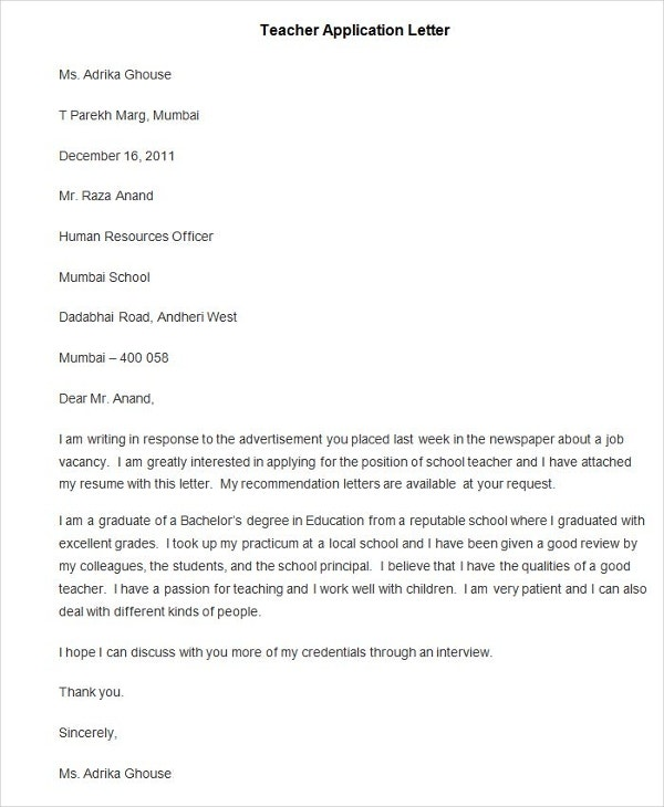 Sample Teacher Application Letter