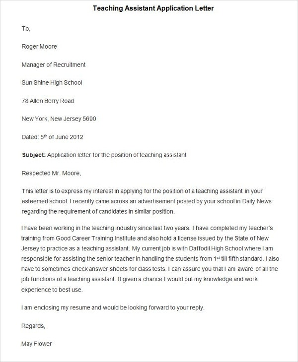 94+ Best Free Application Letter Templates & Samples - PDF ... Letter Of Application Teaching Istant Example Uk on teaching resignation letter examples, teaching cover letter examples, teaching letter of recommendation examples, teaching cover letter job application, application cover letter examples,