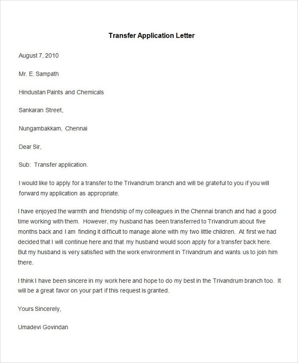 Wonderful Sample Transfer Application Letter Ideas Letter Of Application