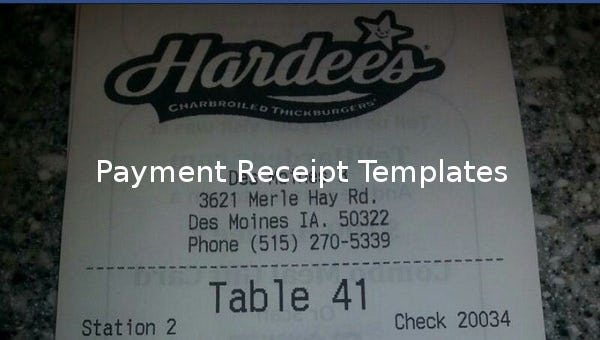18 Payment Receipt Templates Free Sample Example