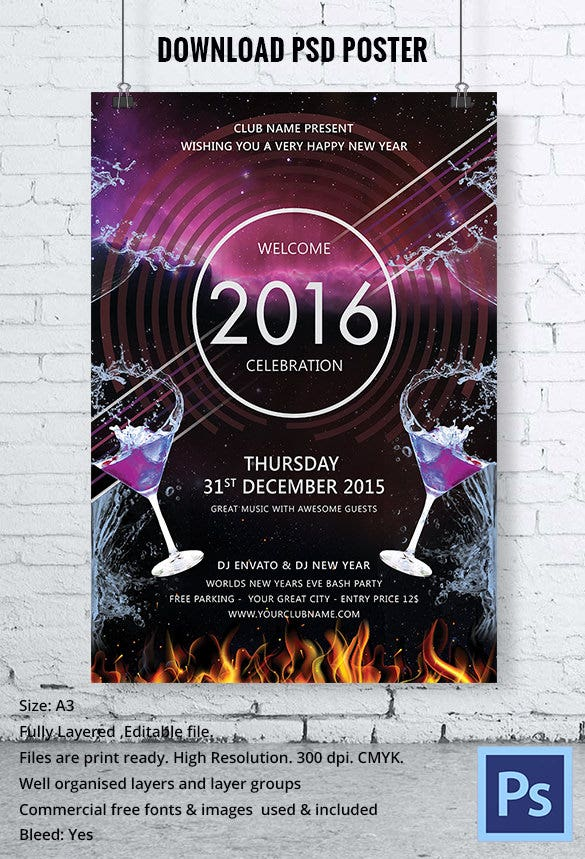 DJ New Year Event Party Poster PSD Template