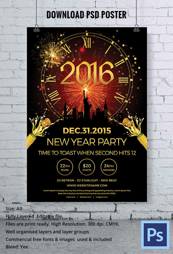elegant gold colour new year party poster psd