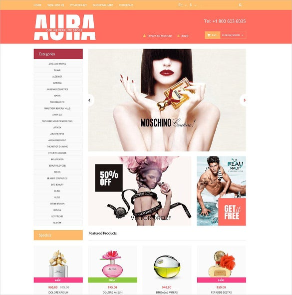 perfume store opencart reponsive bootstrap template
