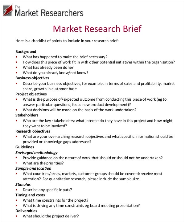marketing brief template free word excel documents With marketing research brief template