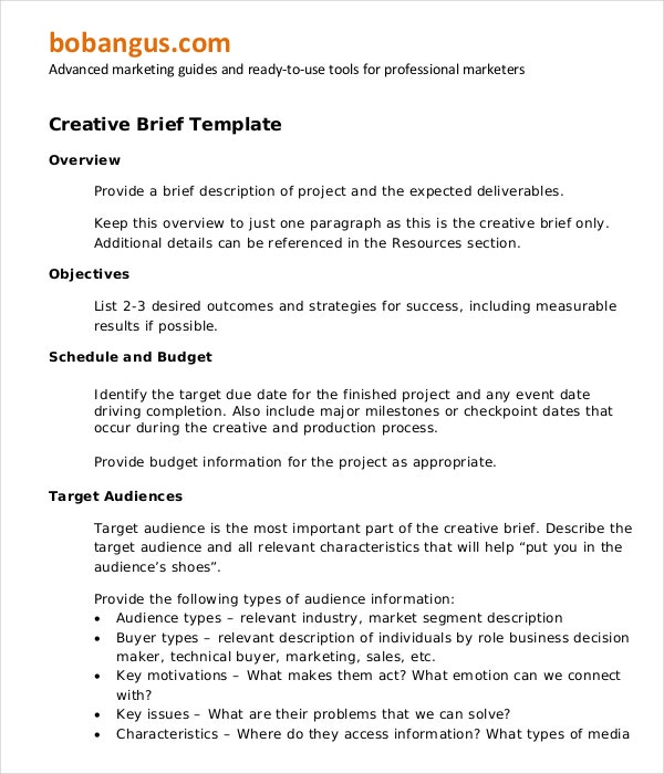 Creative Market Brief Template