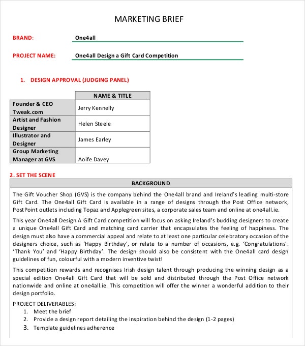 Marketing brief template free word excel documents for Marketing deliverables template