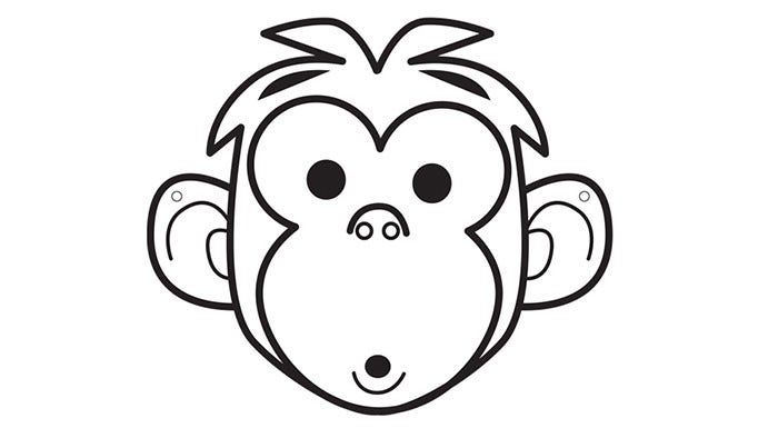 It's just an image of Monkey Mask Printable with regard to traceable