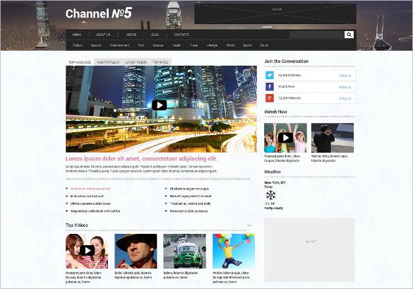 TV Channel Responsive WordPress HTML5 Theme $75