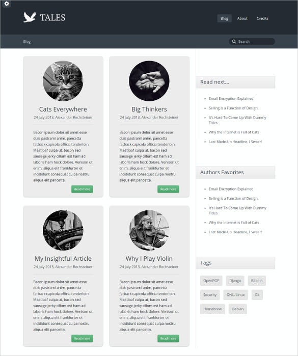 tales responsive bootstrap website blog theme