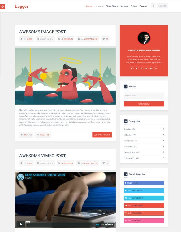 35 bootstrap blog themes templates free premium for Free html blog templates code