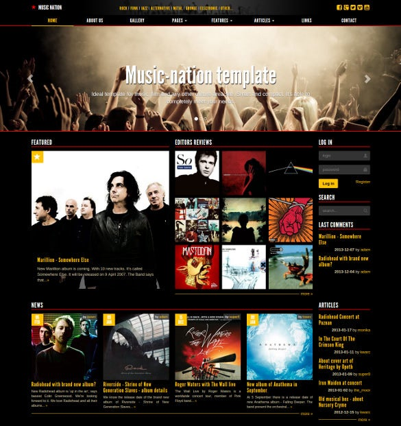 music nation responsive dark bootstrap blog template