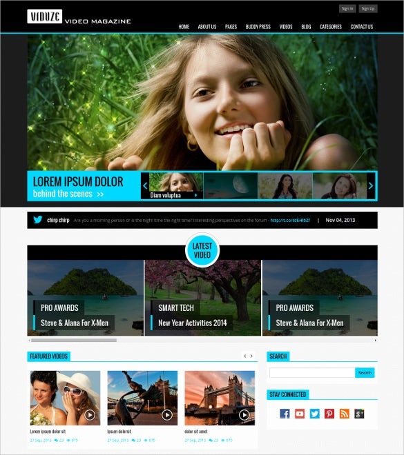 video magazine blog html bootstrap blog template