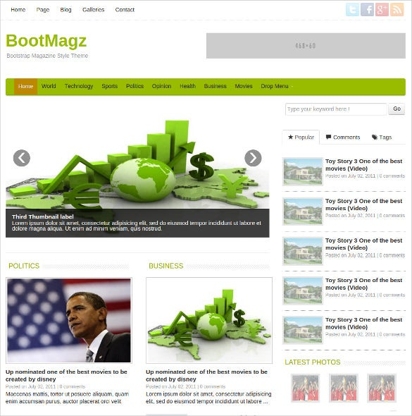 bootmagz magazine blog bootstrap theme
