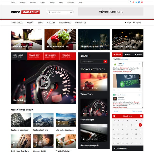 video magazine html bootstrap blog template